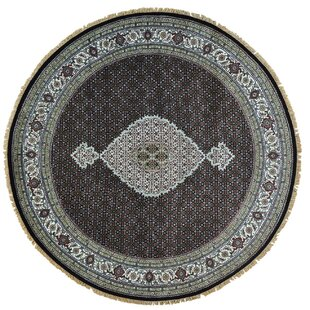 Inexpensive One-of-a-Kind Samons Mahi Hand-Knotted Black Area Rug By Astoria Grand