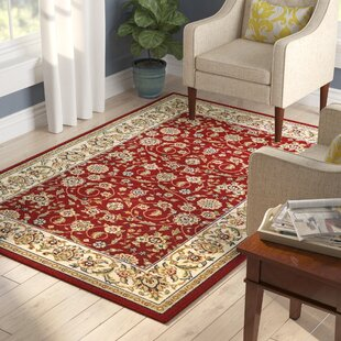 Reviews Silvera Power Loomed Red/Ivory Area Rug By Charlton Home