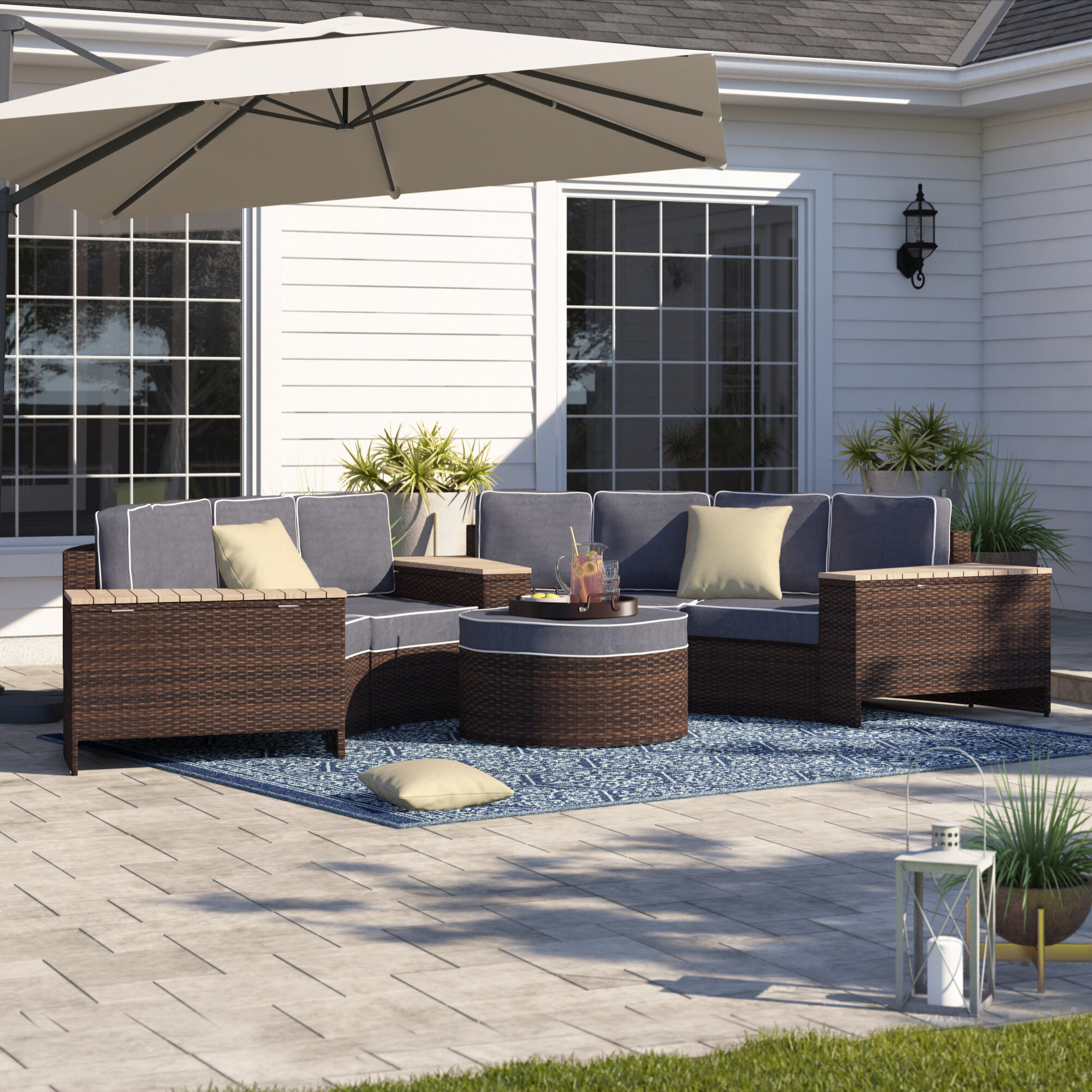 Best Price Bermuda 8 Piece Rattan Sectional Seating Group With Cushions Furniture Online