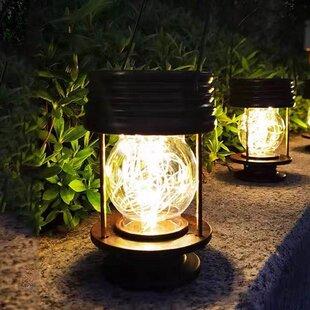 Marine Style Solar LED Light Lantern Garden Stake Pathway Lamp /& Hook Set