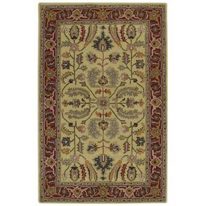 Mcgarity Vintage Hand-Tufted Wool Gold/Red Area Rug