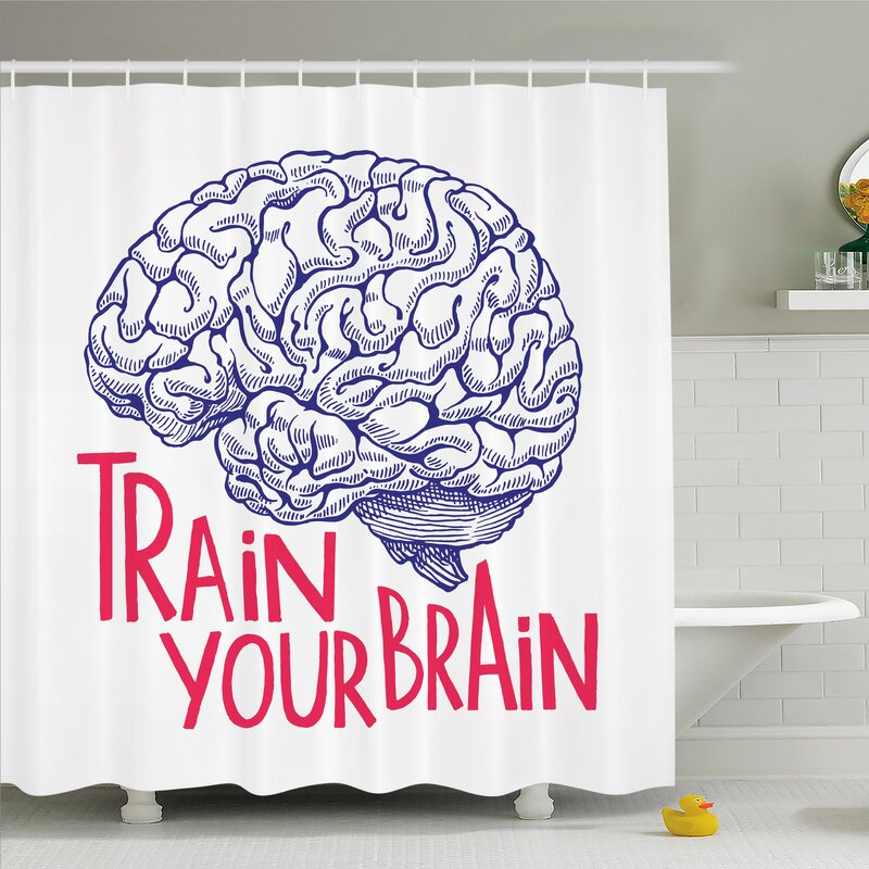 Nathanael Positive Quote On Curvy Human Brain Intelligence Head Skull Humor  Modern Image Shower Curtain Set