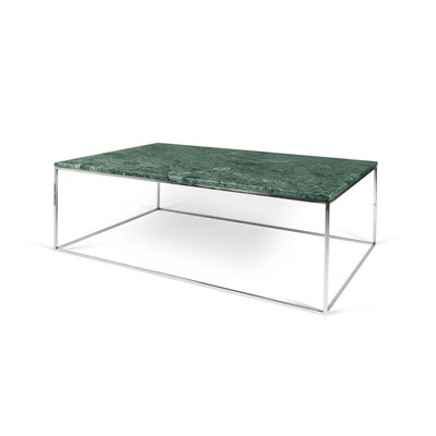 Brayden Studio Soltane Coffee Table Top Color: Green Marble, Base Color: Chrome