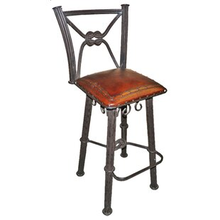 Chaucer Traditional 30 Metal Bar Stool with Leather Seat (Set of 2) Fleur De Lis Living