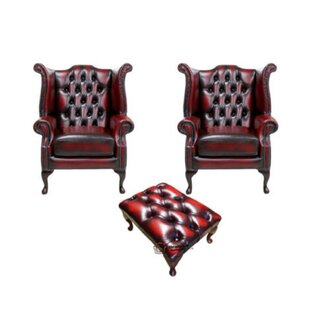 Chesterfield Armchair And Footstool By Winchester Leather Ltd