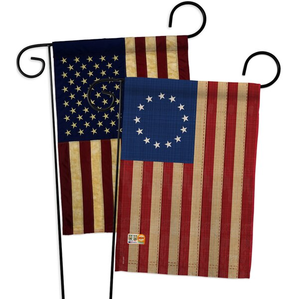 Breeze Decor 2 Piece Betsy Ross Vintage Americana Historic Impressions Decorative Vertical 2 Sided Polyester Flag Set Reviews Wayfair