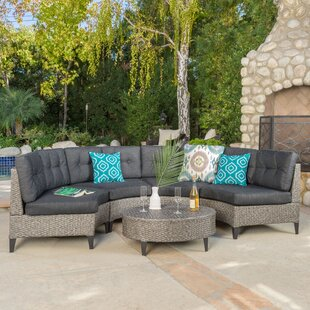 Stoneman 5 Piece Rattan Sectional Set with Cushions by Brayden Studio