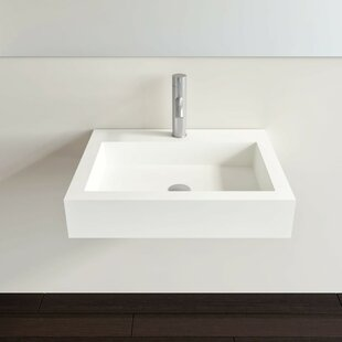 Bargain Polymarble 47 Wall Mount Bathroom Sink with Overflow By Badeloft