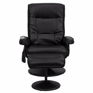 Red Barrel Studio Contemporary Leather Heated Reclining Massage Chair with Ottoman