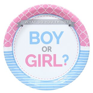 Gender Reveal Party Paper Disposable Dinner Plate (Set of 8)