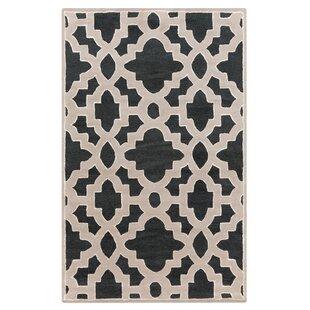 Buy luxury Camarillo Hand-Tufted Wool Black/Khaki/Cream Area Rug ByHouse of Hampton