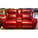 Silver Screen Leather Reclining Loveseat w/Console by Southern Motion