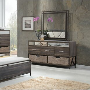 Gracie Oaks Andromeda 5 Drawer Dresser with Mirror