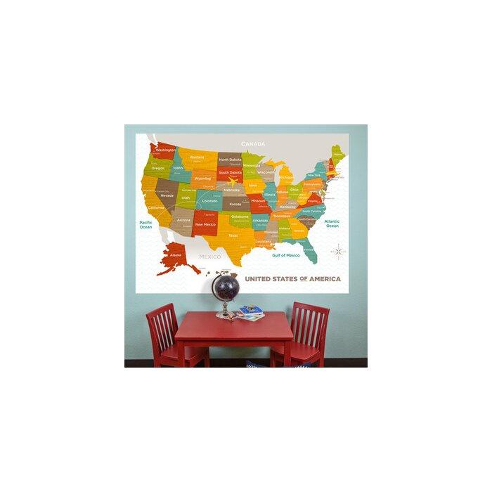 Wood Grain US Map Wall Mural