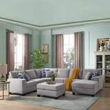 McConnico 124 Left Hand Facing Modular Sectional with Ottoman by Ebern Designs