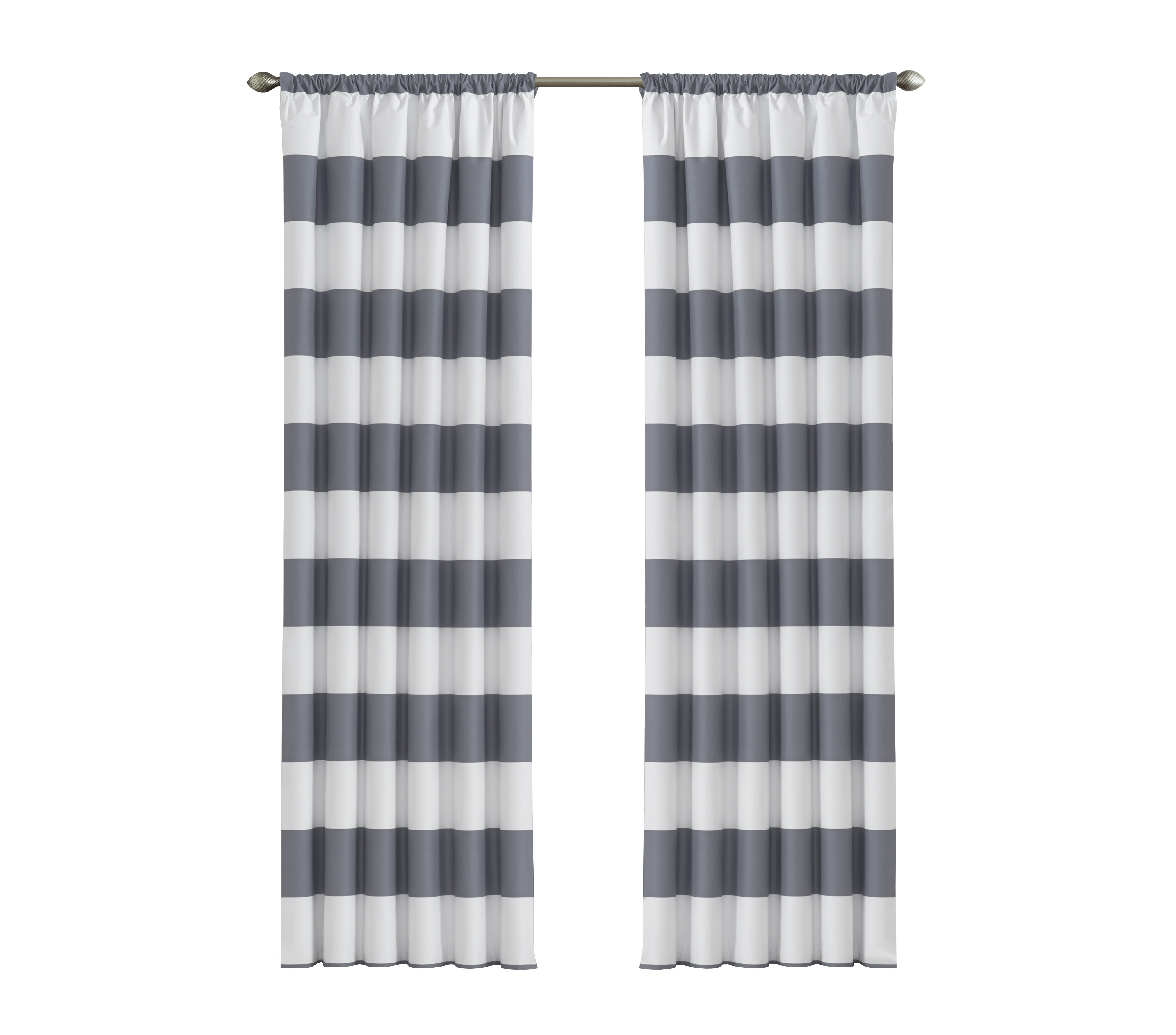 Gray And Silver Striped Curtains Drapes Youll Love Wayfair