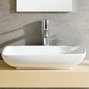 Top Reviews Modern Ceramic Rectangular Vessel Bathroom Sink ByFine Fixtures