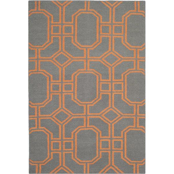 Safavieh Dhurries Wool Gray/Orange Area Rug U0026 Reviews | Wayfair