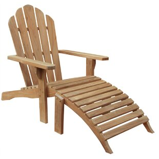 Chic Teak Teak Adirondack Chair with Ottoman