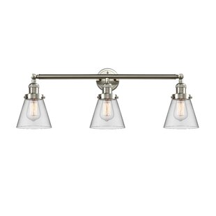 Longshore Tides Boutte Vintage Small Cone 3-Light Vanity Light