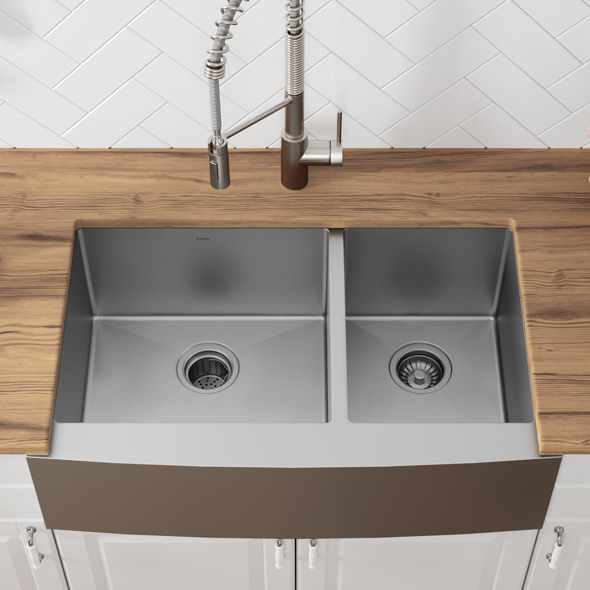 Khf203 36 Kitchen Sink L X 21 W Double Basin Farmhouse A With Drain Embly