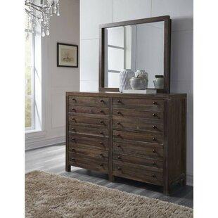 Boylan Solid Hardwood 12 Drawer Double Dresser