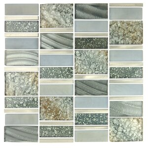 Imperial Random Sized Glass and Aluminum Mosaic Tile in Silver Sea