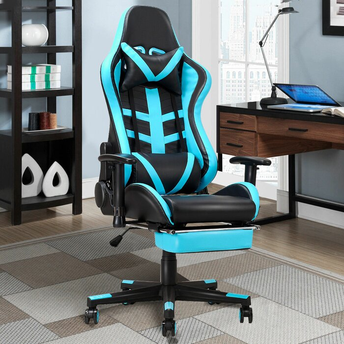Groovy High Back Recliner Racing Gaming Chair With Lumbar Support And Footrest Bralicious Painted Fabric Chair Ideas Braliciousco