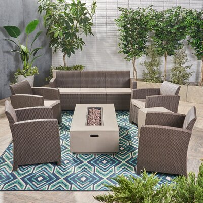 Agape 7 Piece Rattan Sofa Seating Group with Cushions by Brayden Studio