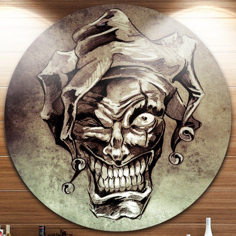 Designart Fantasy Clown Joker Tattoo Sketch Graphic Art Print On
