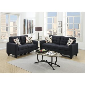 Cassandra 2 Piece Living Room Set Black Sets You ll Love  Wayfair