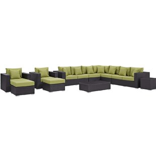 Brentwood 11 Piece Rattan Sectional Set with Cushions