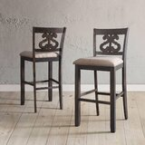 Ismay Swirl Back 32 Bar Stool (Set of 2) by Three Posts