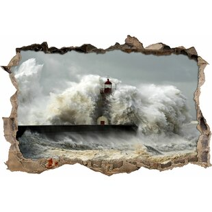 Giant Wave Engulfing A Lighthouse Wall Sticker By East Urban Home