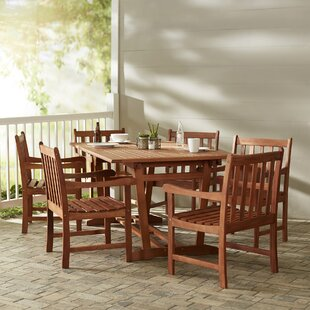 Beachcrest Home Monterry Traditional 7 Piece Solid Wood Dining Set