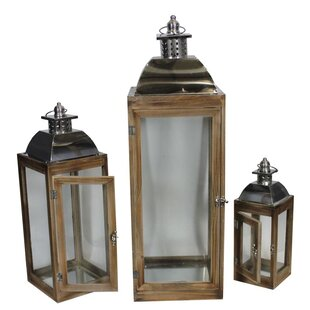 Gracie Oaks 3 Piece Wood Lantern Set (Set of 3)