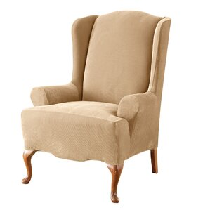 Sure Fit Stretch Pique T-Cushion Wingback Slipcover
