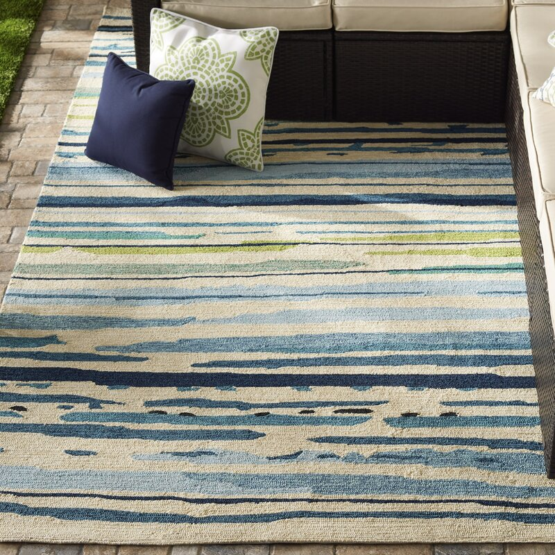 Angelina Hand Hooked Polypropylene Blue Green Outdoor Area Rug