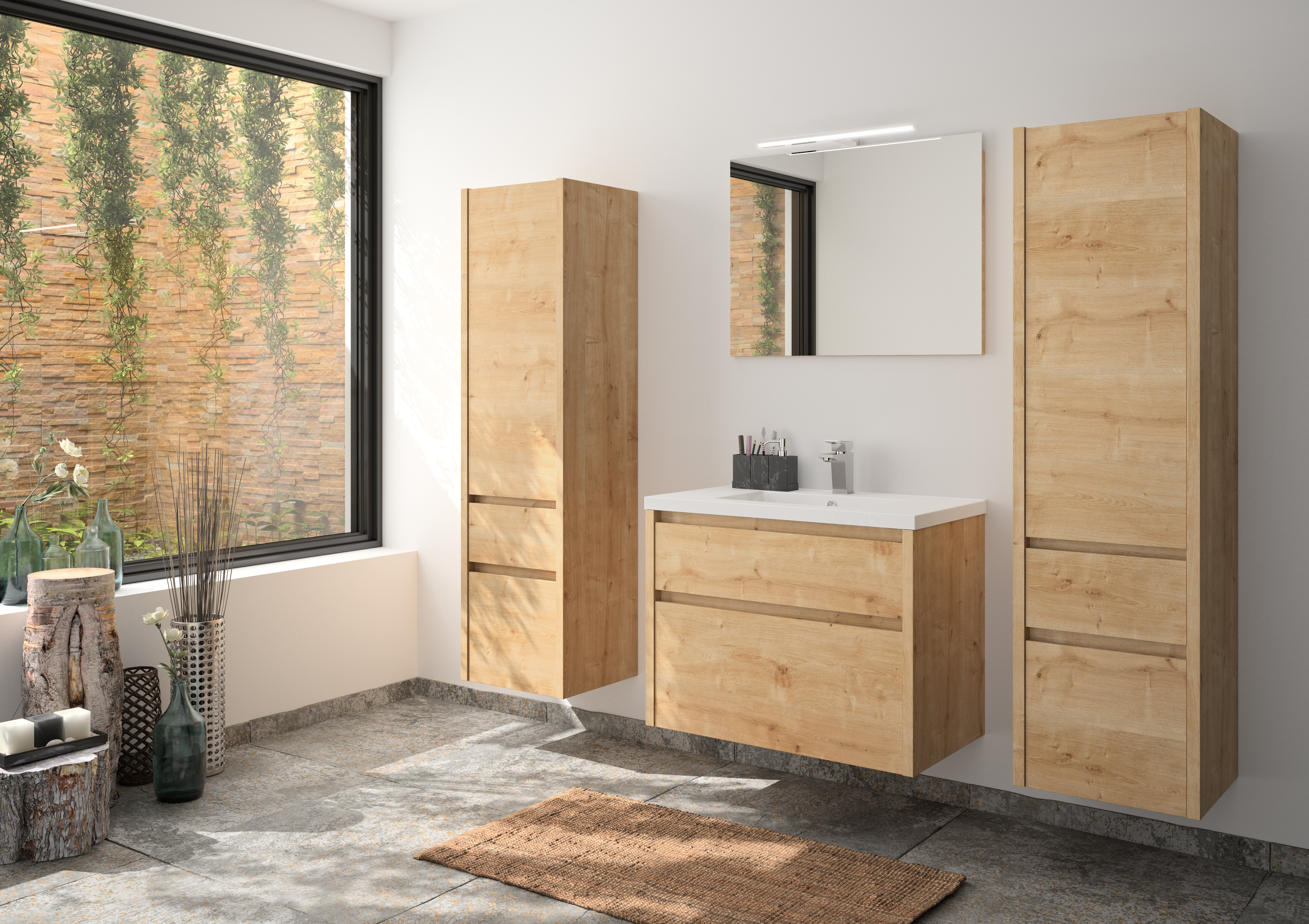 Hassell 10 mm Bathroom Furniture Suite with Mirror