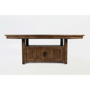 ConCourse Solid Wood Dining Table with Storage Base Loon Peak