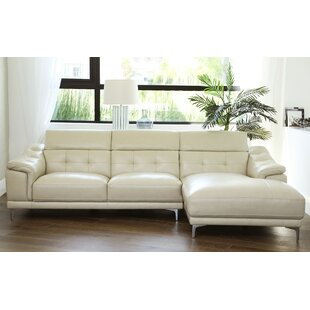 Doherty Leather Sectional by Orren Ellis