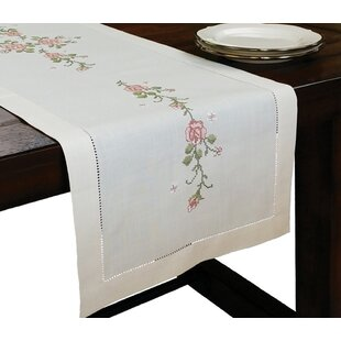Roses Embroidery With Hand Rendered Cutwork Table Runner