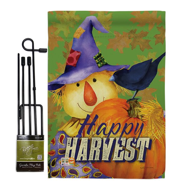 Breeze Decor Happy Harvest Scarecrow Autumn Impressions 2 Sided Polyester 18 5 X 13 In Flag Set Wayfair