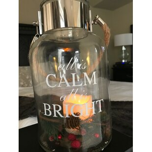 Merry and Bright Holiday Glass Lantern