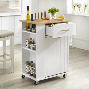 Toro Kitchen Cart with Solid Wood Top Winston Porter