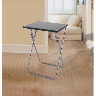 Hutton Metallic Veneer Folding Snack Tray Table by Rebrilliant