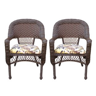Belwood Resin Wicker Patio Dining Chairs with Floral Cushion (Set of 2)