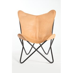 Foundry Select Cochrane Butterfly Saddle Natural Leather Lounge Chair
