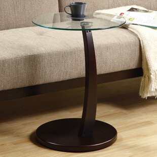 Monarch Specialties Inc. Bentwood Tempered Glass End Table
