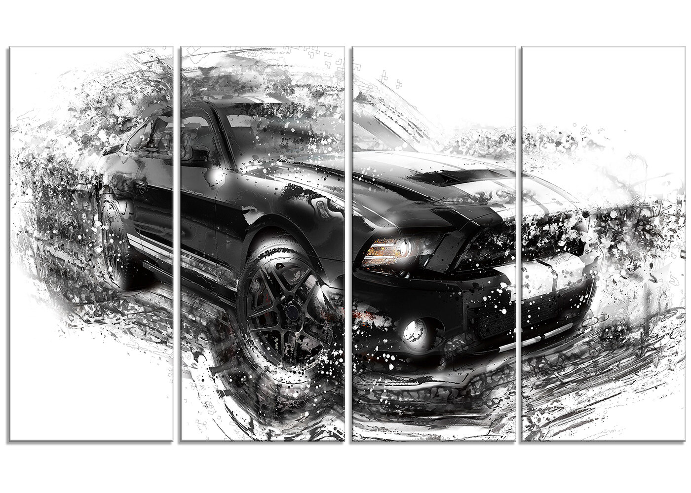 Black And White Muscle Car 4 Piece Graphic Art On Wrapped Canvas Set